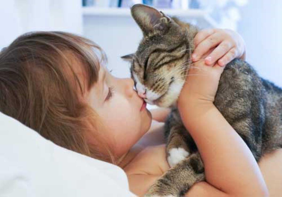 gatto-strofina-il-muso-sul-viso-bambina