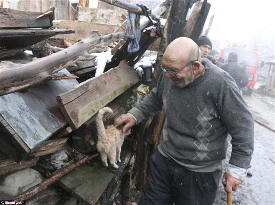 anziano e gattino nell'incendio