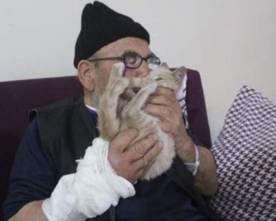 anziano bacia gattino