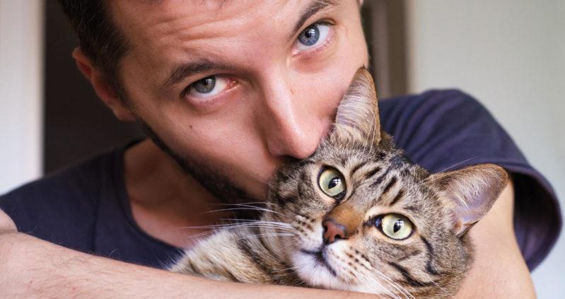 Gatto baciato da un uomo