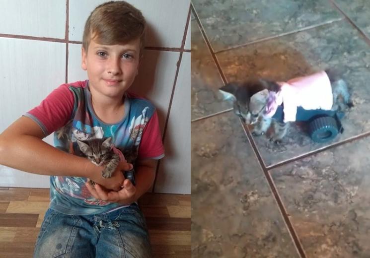 bambino aiuta gattino paralizzato