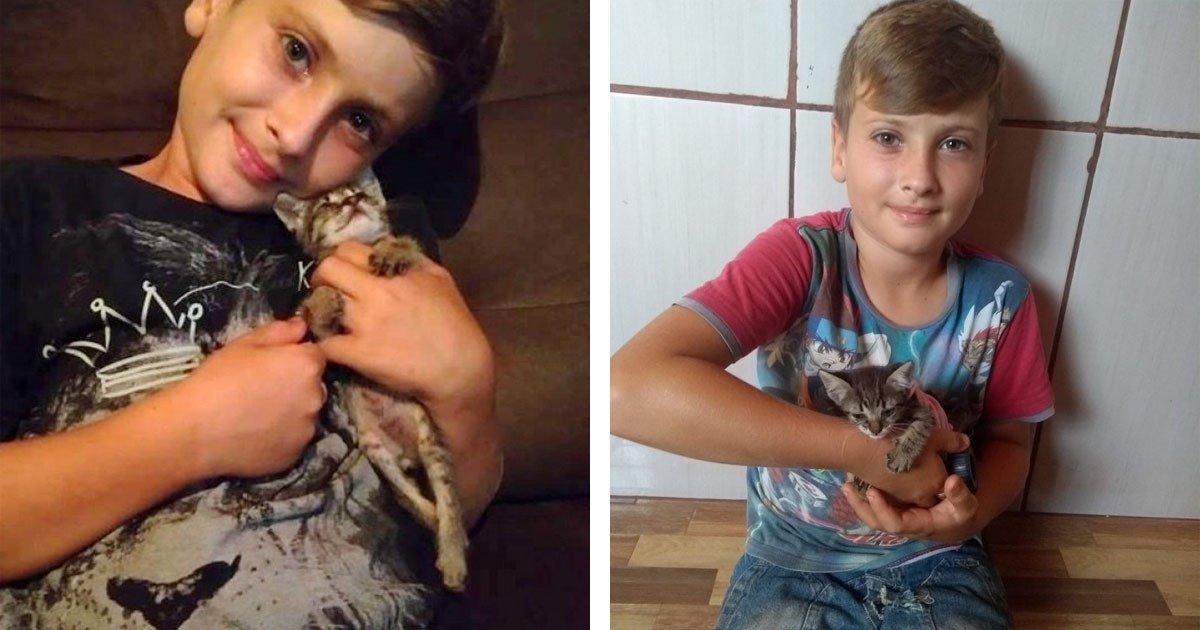 bambino con gattino malato