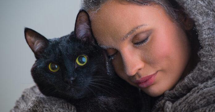 Gatto nero con una ragazza
