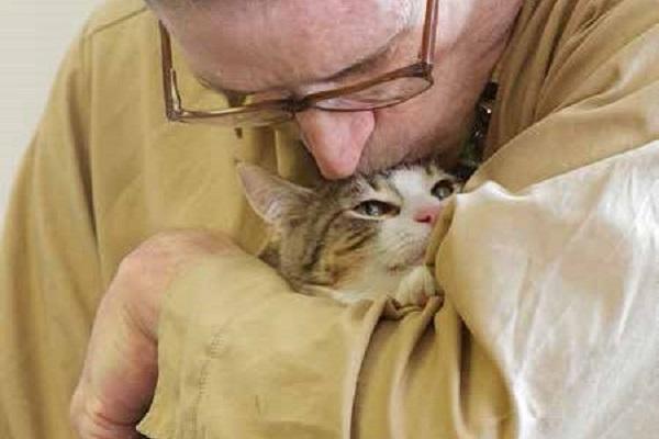 detenuto bacia gatto