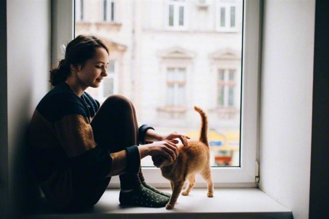 ragazza accarezza un gatto