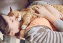gatto dorme sdraiato su una persona