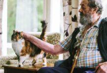 persona anziana con un gatto