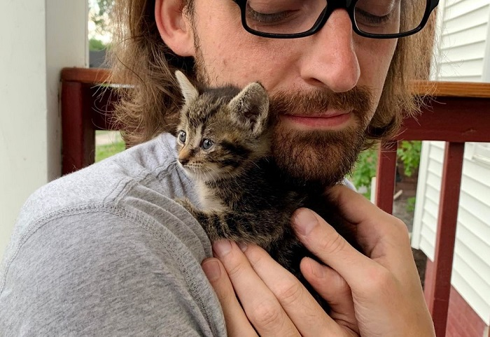 uomo gatto foto