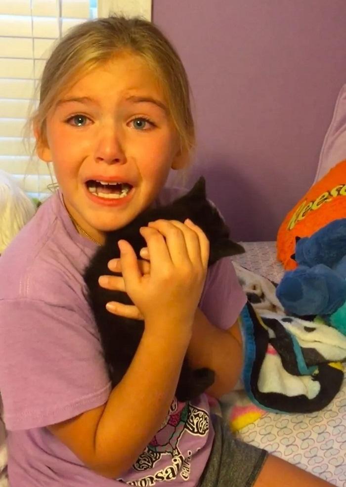 bambina commossa gattino