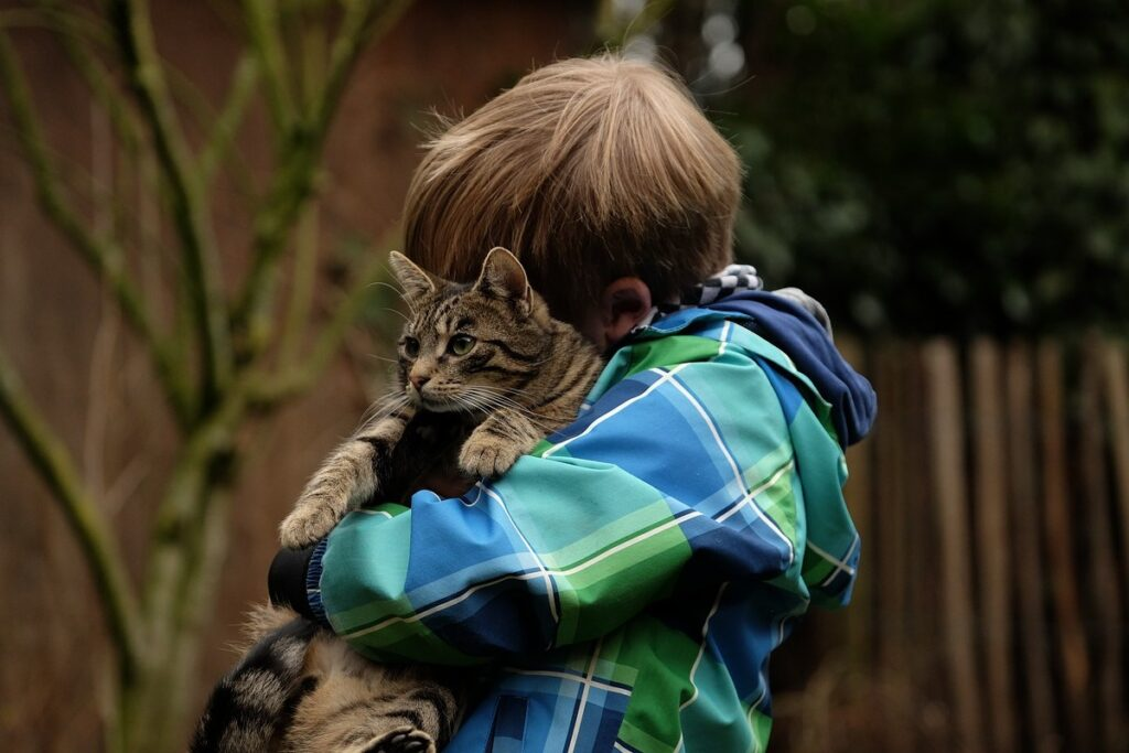 bambino abbraccia un gatto