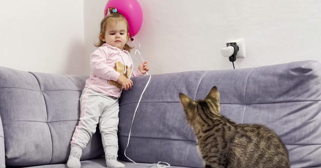 Gatto e bambina che giocano con un palloncino