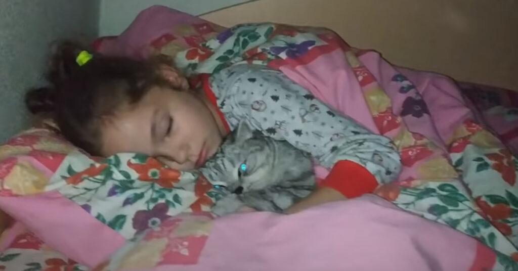 Gatto con una bambina