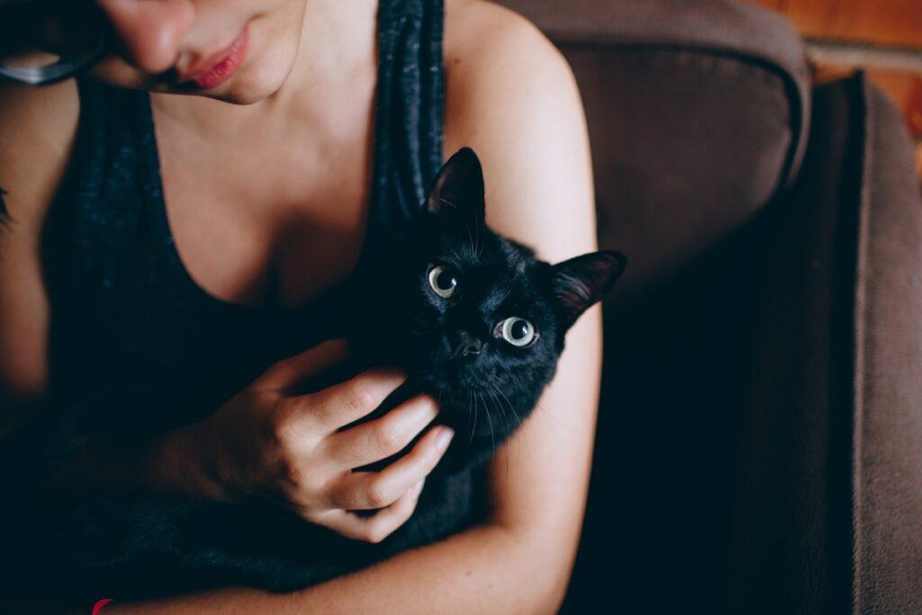 ragazza tiene in braccio un gatto nero