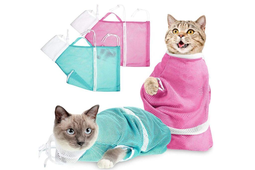 borsa per fare il bagno al gatto