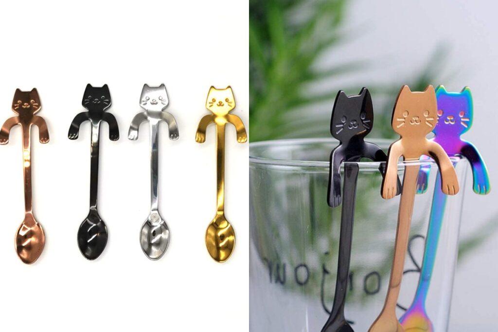 cucchiaini a forma di gatti