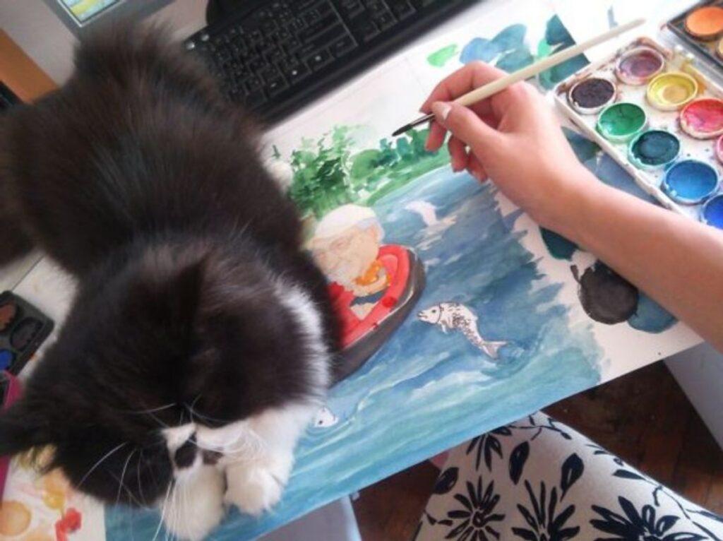 gatto disegno disturba