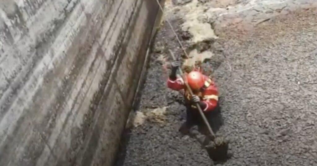 pompiere salva un gatto caduto in una cisterna