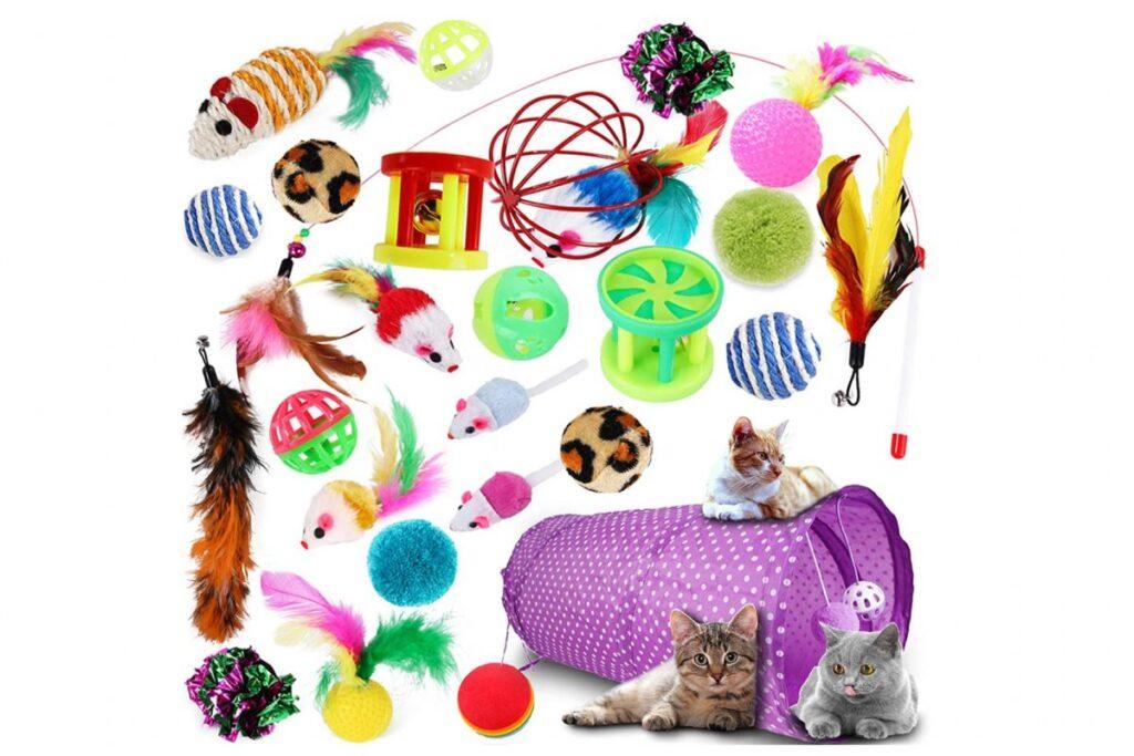 set di giocattoli per gatti
