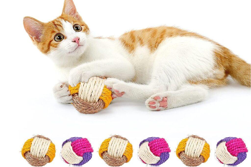 gatto che gioca con le palline