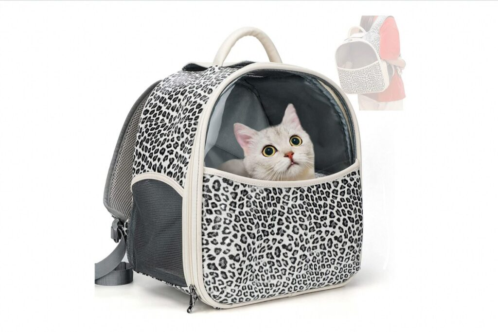 zaino maculato per gatto