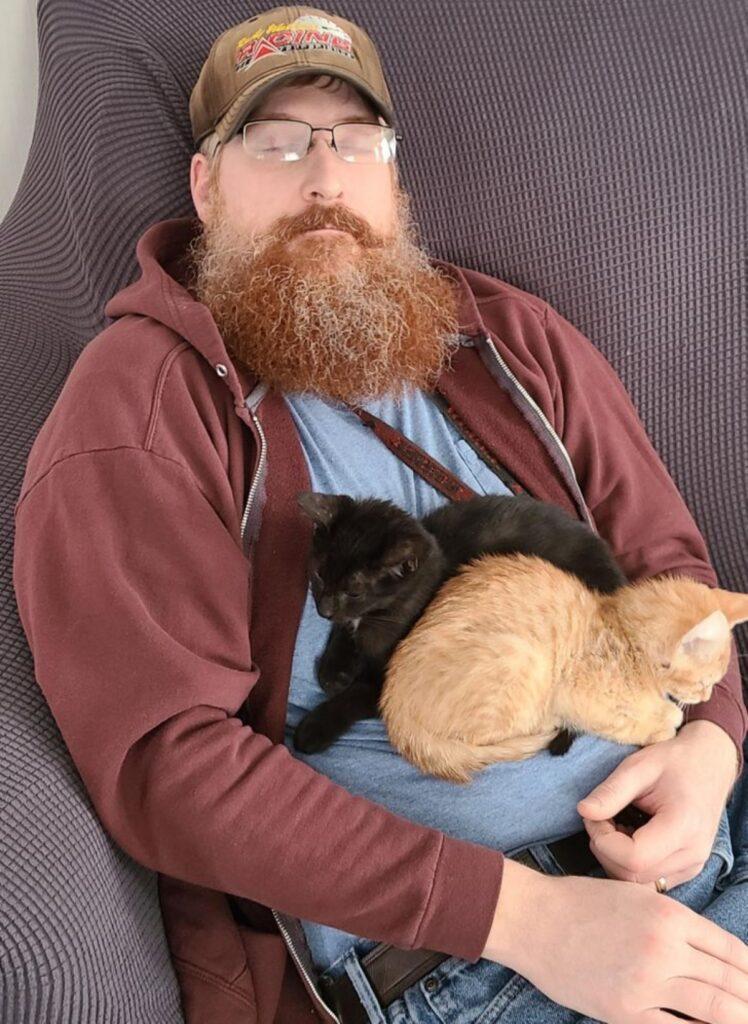 ragazzo dorme gatti
