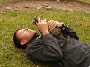 uomo sul prato con gatto