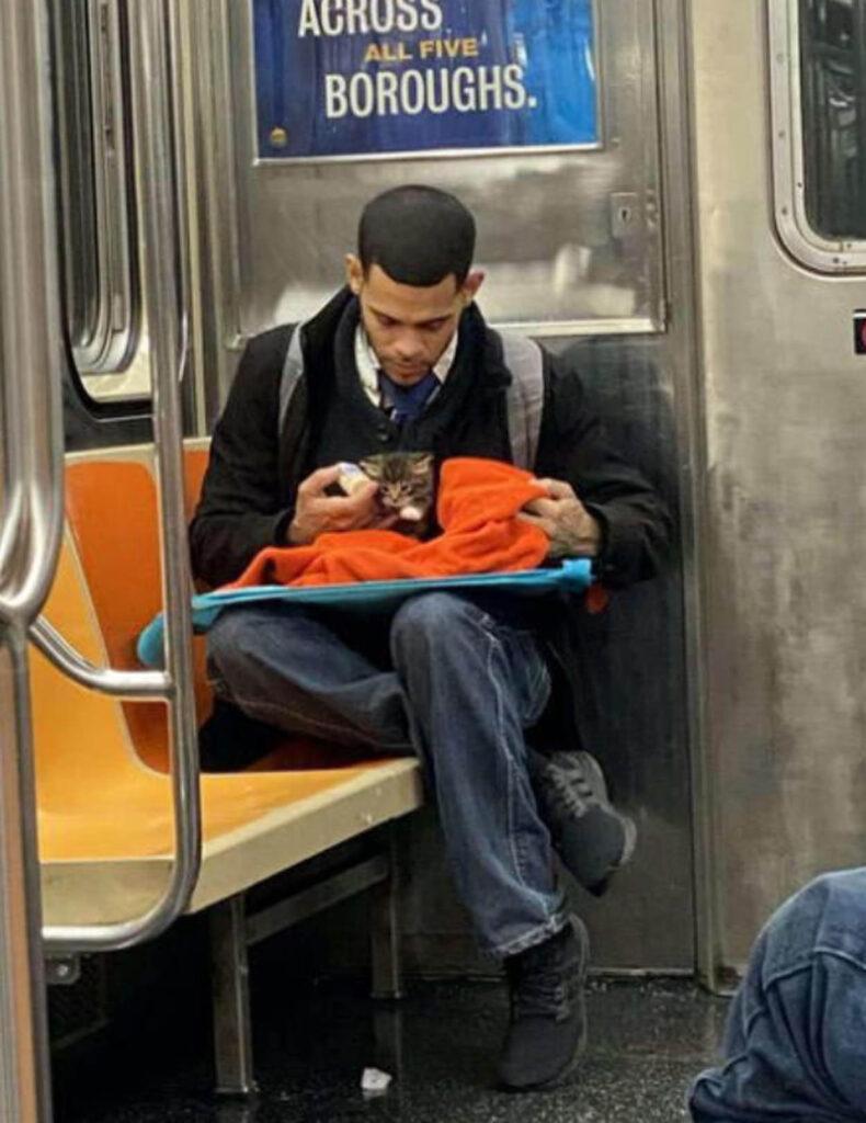 ragazzo con gattino in metropolitana