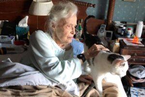 donna anziana con gatto anziano